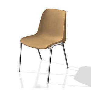 Chaise collectivité Coque universelle - Polypropylène - Beige - Pieds métal chromé