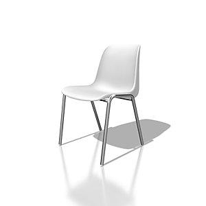Chaise collectivité Coque universelle - Polypropylène - Blanc - Pieds métal chromé