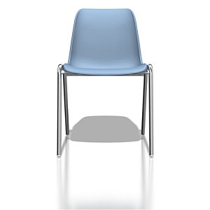 Chaise collectivité Coque universelle - Polypropylène - Bleu clair - Pieds métal chromé