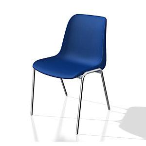 Chaise collectivité Coque universelle - Polypropylène - Bleu - Pieds métal chromé