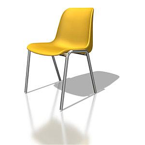 Chaise collectivité Coque universelle - Polypropylène - Jaune - Pieds métal chromé