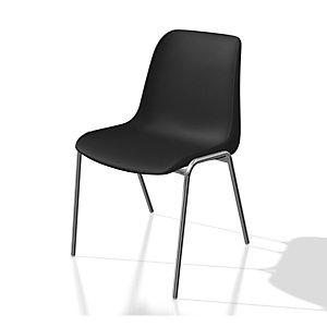 Chaise collectivité Coque universelle - Polypropylène - Noir - Pieds métal chromé