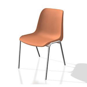 Chaise collectivité Coque universelle - Polypropylène - Orange - Pieds métal chromé
