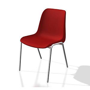 Chaise collectivité Coque universelle - Polypropylène - Rouge - Pieds métal chromé