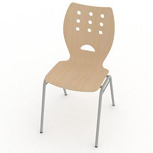 Chaise collectivités Collectiva -4 pieds métal finition alu - Hêtre