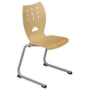 Chaise collectivités Collectiva - pieds luge métal finition alu - Hêtre