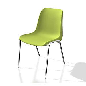 Chaise collectivités Coque universelle - Polypropylène - Vert clair - Pieds métal chromé