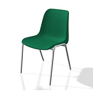Chaise collectivités Coque universelle - Polypropylène - Vert - Pieds métal chromé