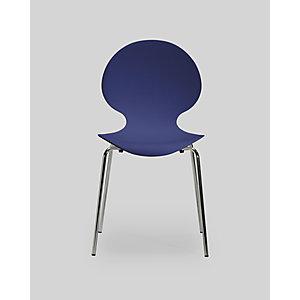 Chaise coque plastique empilable Naémie en polypropylène bleu, pieds chromés