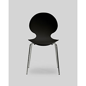 Chaise coque plastique empilable Naémie en polypropylène noir, pieds chromés