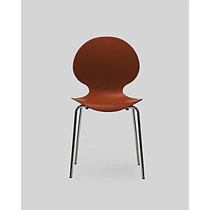 Chaise coque plastique empilable Naémie en polypropylène rouge, pieds chromés