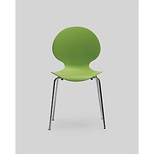 Chaise coque plastique empilable Naémie en polypropylène vert, pieds chromés