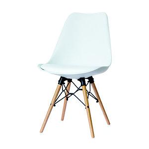 Chaise DOGEWOOD en polypropylène - Piètement hêtre massif - Assise Blanc