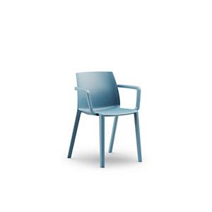 Chaise d'extérieur Olga avec accoudoirs en polypropylène – Bleu