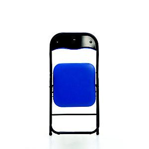 Chaise pliante Eco, simili cuir Bleu - Pieds métal Noir