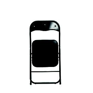 Chaise pliante Eco, simili cuir Noir - Pieds métal Noir