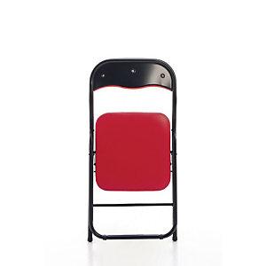 Chaise pliante Eco, simili cuir Rouge - Pieds métal Noir