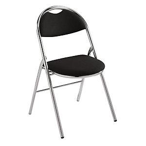 Chaise pliante Super confort - Tissu Noir - Pieds métal Chromé