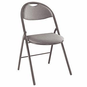Chaise pliante Super confort - Tissu non feu M1 Anthracite - Pieds métal Noir