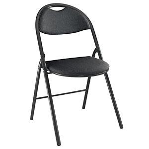 Chaise pliante Super confort - Tissu non feu M1 Noir - Pieds métal Noir