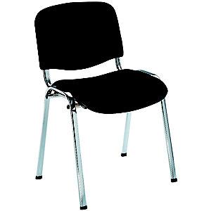 Chaise de réunion & Conférence - Tissu - Noir - Pieds Chromés