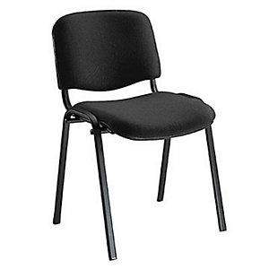 Chaise de réunion & Conférence - Tissu Noir - Pieds métal Noir