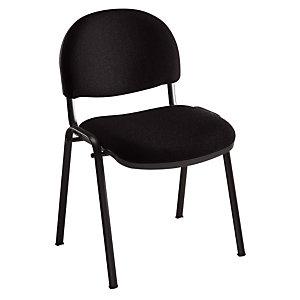 Chaise réunion et visiteur - Bien Assis 2 - Tissu Noir- Pieds Noir