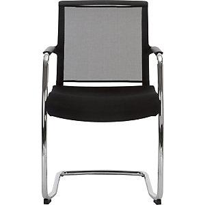 Chaise  de réunion & visiteur Bloom maille/tissu Piètement luge  - Noir