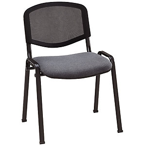 Chaise de réunion & visiteur First - Maille filet - Gris - Pieds noir