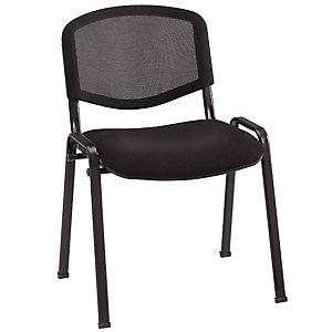 Chaise de réunion & visiteur First - Maille filet - Noir - Pieds noir