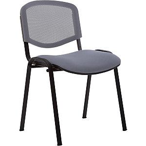 Chaise  de réunion & visiteur First - Maille filet/tissu -  Gris