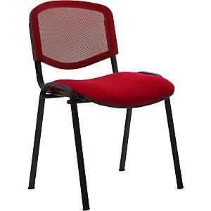 Chaise  de réunion & visiteur First - Maille filet/tissu -  Rouge