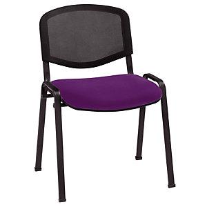 Chaise de réunion & visiteur First - Maille filet - Violet - Pieds noir