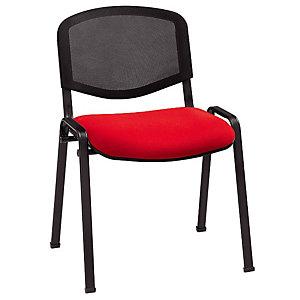 Chaise de réunion & visiteur First - Rouge, dossier en maille filet Noir - Pieds noir