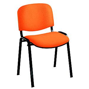 Chaise de réunion & visiteur First - Tissu Abricot - Pieds Noir
