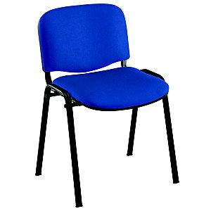 Chaise de réunion & visiteur First - Tissu Bleu - Pieds Noir