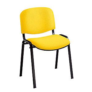 Chaise de réunion & visiteur First - Tissu Jaune - Pieds Noir