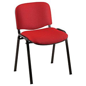 Chaise de réunion & visiteur First - Tissu Rouge - Pieds Noir