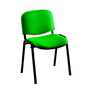 Chaise de réunion & visiteur First - Tissu Vert - Pieds Noir