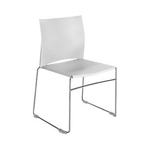 Chaise de réunion et visiteur Giulia, polypropylène, piètement fil chromé métal, Blanc