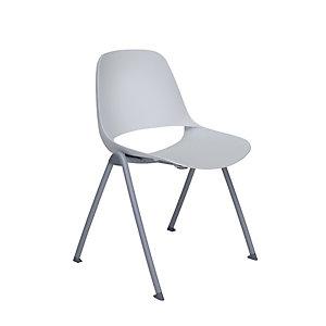 Chaise de réunion & visiteur Luana, polypropylène - Pieds époxy coloris Gris clair - Assise coloris Blanc