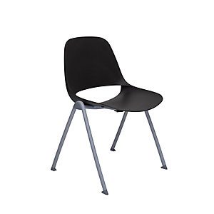 Chaise de réunion & visiteur Luana, polypropylène - Pieds époxy coloris Gris clair - Assise coloris Noir