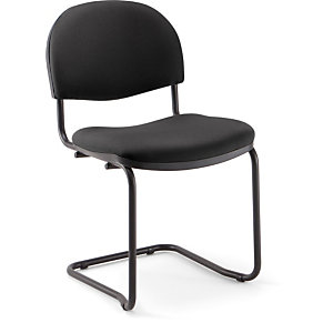 Chaise réunion et visiteur - Prima - Tissu Noir- Piètement luge noir