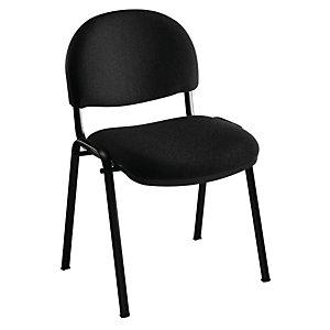 Chaise réunion et visiteur Prima - Tissu rembourré - Noir - Pieds Noir