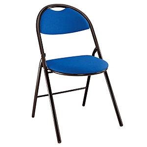 Chaise Super confort - Pliante - Tissu Bleu - Pieds métal Noir