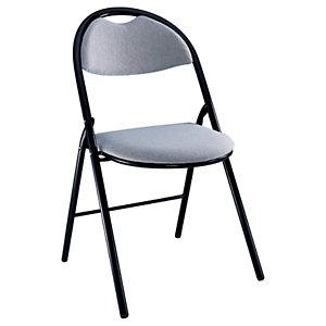 Chaise Super confort - Pliante - Tissu Gris - Pieds métal Noir