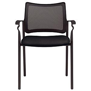 Chaise visiteur BILBAO Maille filet/ Tissu Noir Avec accoudoirs