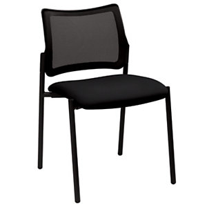 Chaise visiteur BILBAO Maille filet/ Tissu Noir