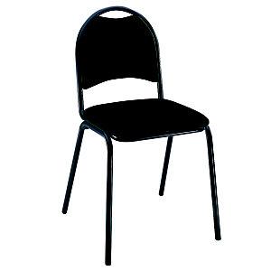Chaise visiteur Clara - Tissu rembourré - Noir - Pieds métal Noir