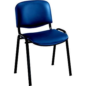 Chaise visiteur First - Vinyle - Bleu